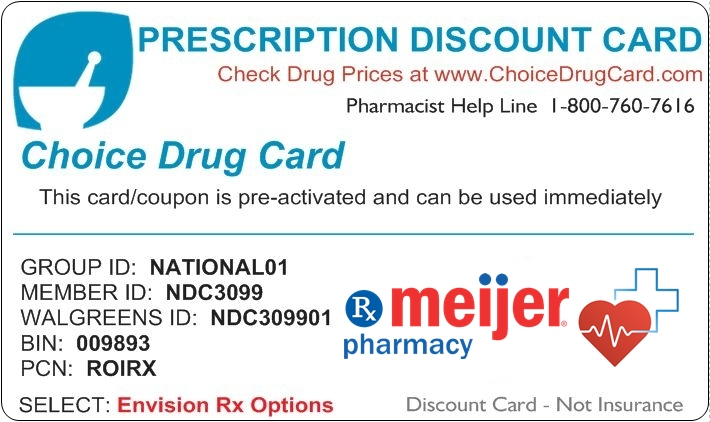 photo relating to Meijer Printable Coupons identified as Meijer Pharmacy Cost savings Option Drug Card